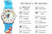WILLIS Brand dinosaur 3D High quality waterproof watch 3D Cartoon kids WatchThe dinosaur boys girls kids waterproof clock watch