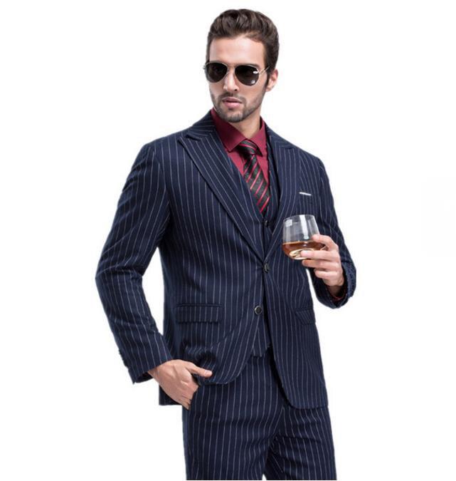 Пиджак + брюки + жилет) на заказ Slim Fit 2019 мужской костюм Мода полоса свадебное платье костюмы мужские деловые мужские Блейзер Полный размер см...