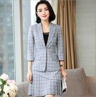 Women Office Black Beige Gray Plaid Skirt Suit Womens Plus Size Blazer Skirt Suit Sets For Office Work Wear 2 Piece Set Clothes