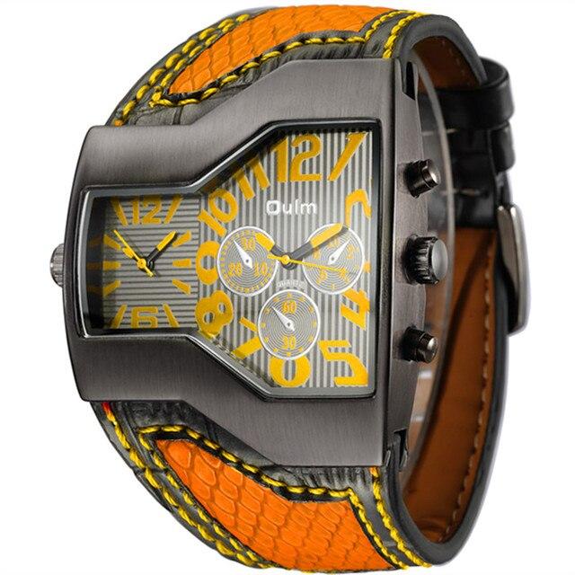 cb15115f040 Oulm Marca Original Relógios Homens Pulseira De Couro De Largura 2 Fuso  Horário Moda Casua lSport