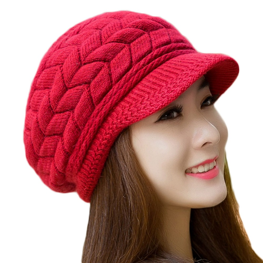 Hot Sale Women Winter Hats Elegant Solid Knitted Crochet ...