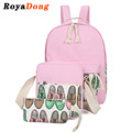 RoyaDong 2017 Spring New School Backpack Set Canvas Cute Pattern Printing School Bag For Teenagers