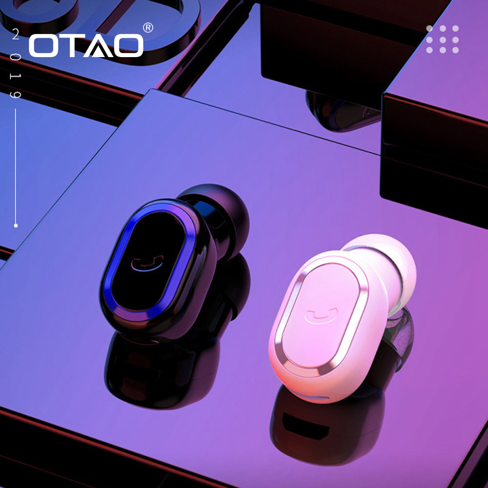 OTAO 5.0 Micro Mini Bluetooth Headset Sport Single Wireless Earphones Ear Buds Pods In-ear Business Earpiece For Women Men Kids