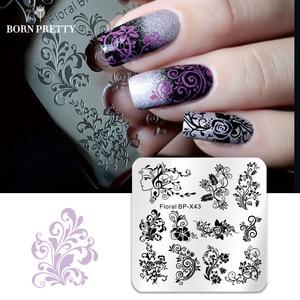 Квадратный штамп для ногтей BORN PRETTY, пластины с цветами, розами, фруктами, великолепными цветочными линиями, изображение для дизайна ногтей, шаблоны для трафаретов