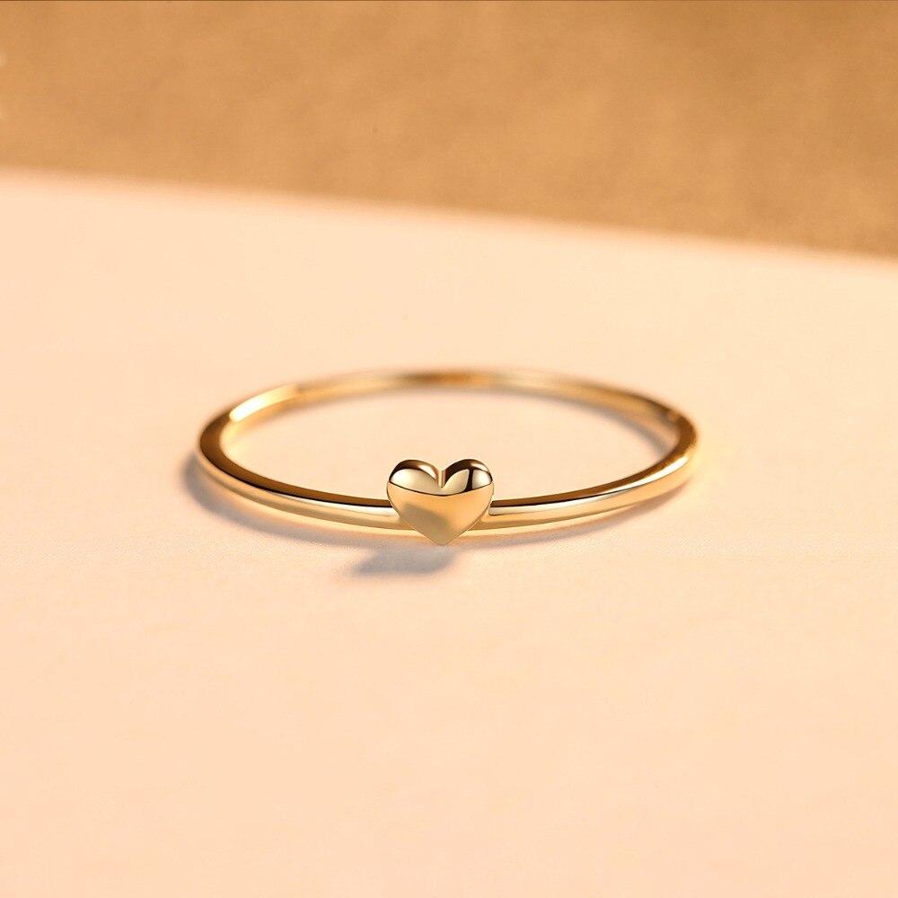 LUOTEEMI, нежное милое Золотое кольцо на палец в форме сердца для женщин, обручальные кольца для невесты, хорошее ювелирное изделие, подарок на Рождество - 4