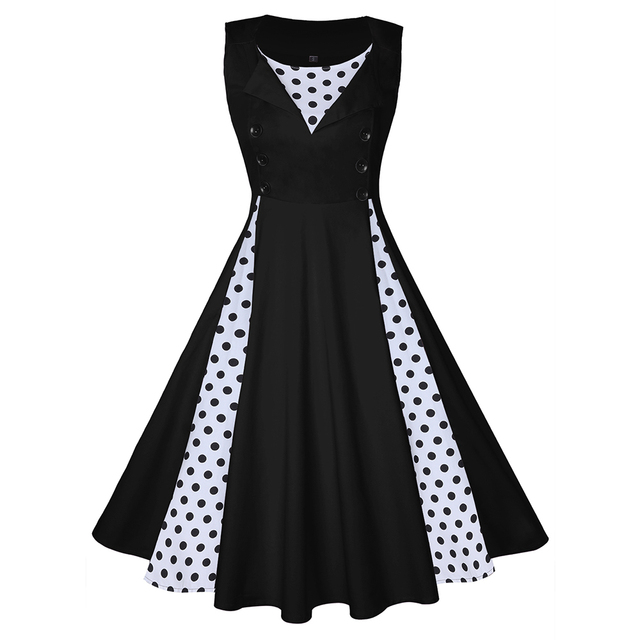 138f7f7cd3534 Wipalo Plus Size Women Vintage Dress Polka Dot Patchwork Sleeveless Spring  Summer Dress Rockabilly Swing Party