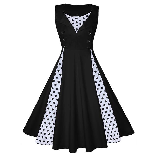 Wipalo плюс Размеры Для женщин Винтаж платье в горошек лоскутное рукавов сезон: весна–лето платье рокабилли Свинг Платья для вечеринок новые черные