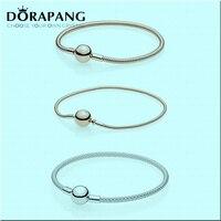 DORAPANG NEWEST 100 925 Sterling Silver Rose Gold Bracelet Clear CZ Charm Bead ESSENCE Mesh Bracelets