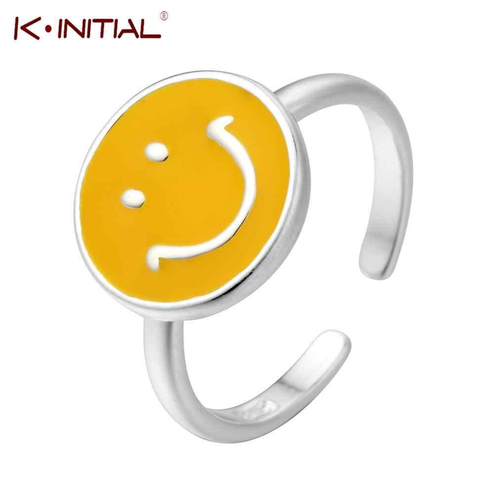 وصل حديثًا خواتم وجه ابتسامة مستديرة فضية للنساء مقاس قابل للتعديل خاتم علامة تجارية مجوهرات خطوبة خاتم للزوجين بيجو