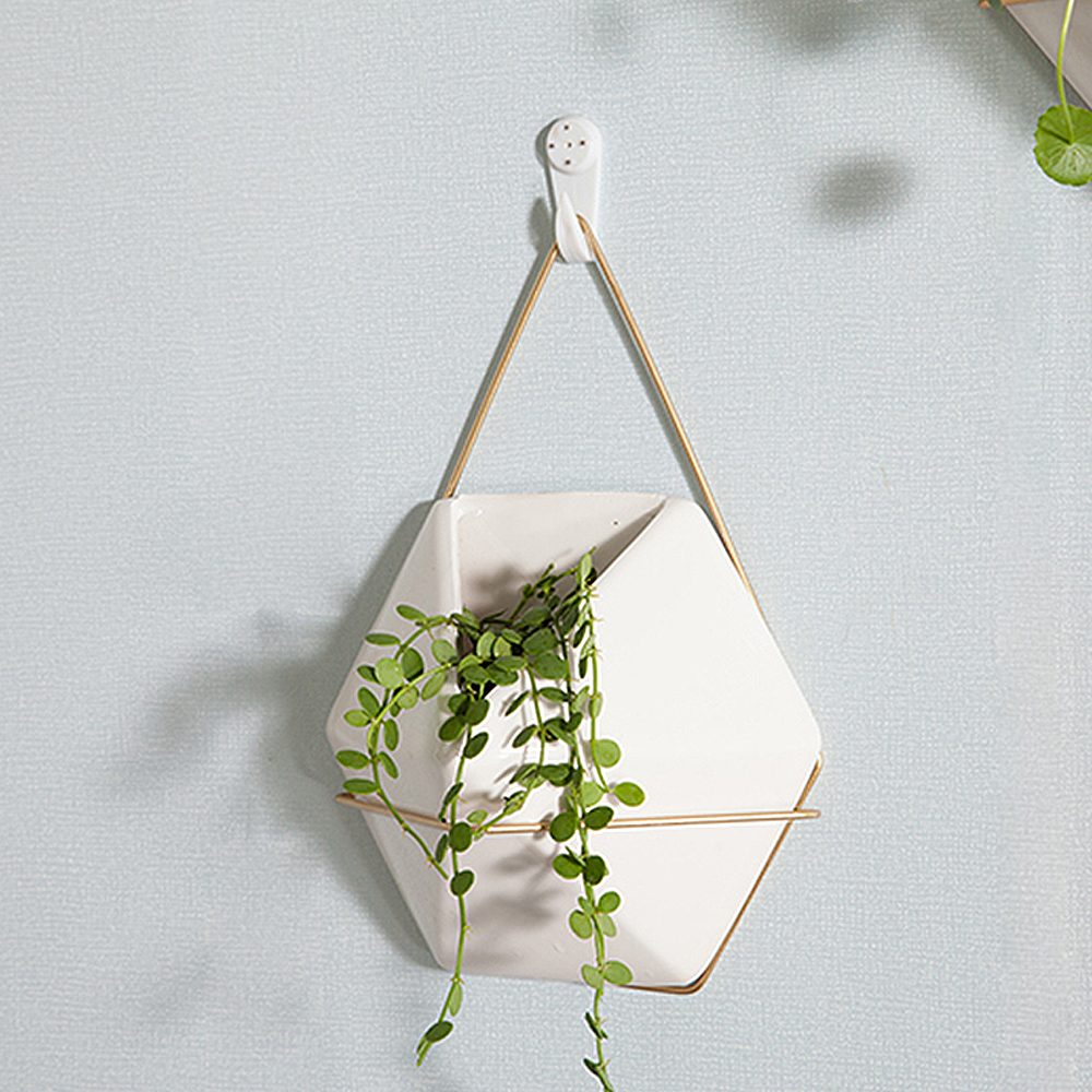 NEW Ceramic Flower Vase+Iron Plant Holder Set Indoor Hanging Planter Geometric Vase Wall Decor Container Succulents Plant Pots
