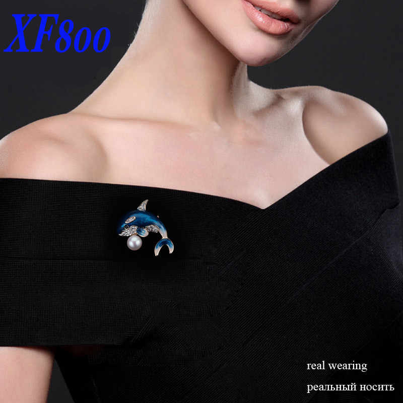 XF800 Merek mutiara perhiasan, BESAR mutiara Alami bros pins untuk wanita Romantis hadiah natal untuk wanita [dolphin] B09