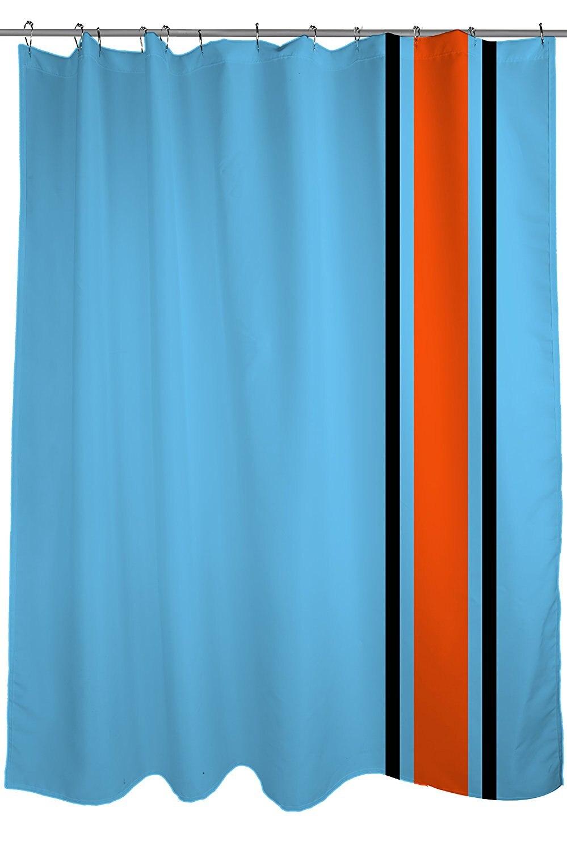 WARM TOUR Racing Stripes Blue  Orange  and Black Fashion Shower Curtain  Hotel Bathroom With Hooks Ring72 X72 InchBlack Shower Curtains Promotion Shop for Promotional Black Shower  . Orange And Black Shower Curtain. Home Design Ideas