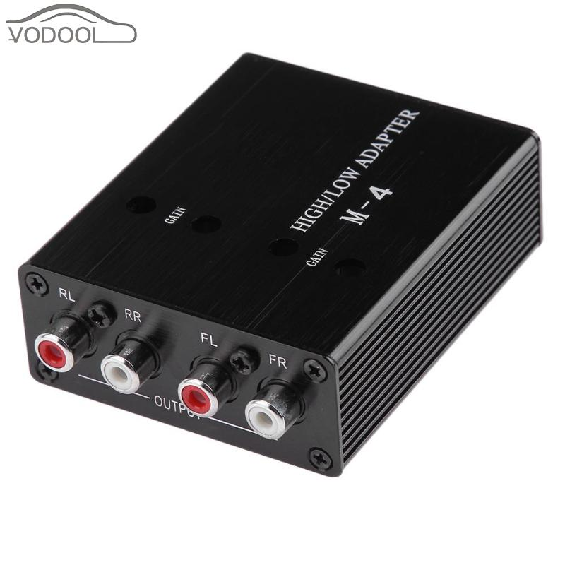 цена на VODOOL Universal 12V Auto Car Stereo RCA Speaker Active Audio High to Low Level Line Output Amplifier Adapter Converter