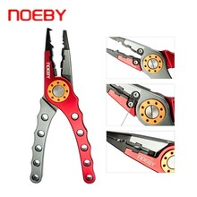 NOEBY Aluminum Alloy Fishing Pliers Split Ring Cutters Fishing Holder Tackle with Sheath & Retractable Tether Hooks Remover 8 fishing pliers aluminum saltwater split ring stainless steel terminal tackle