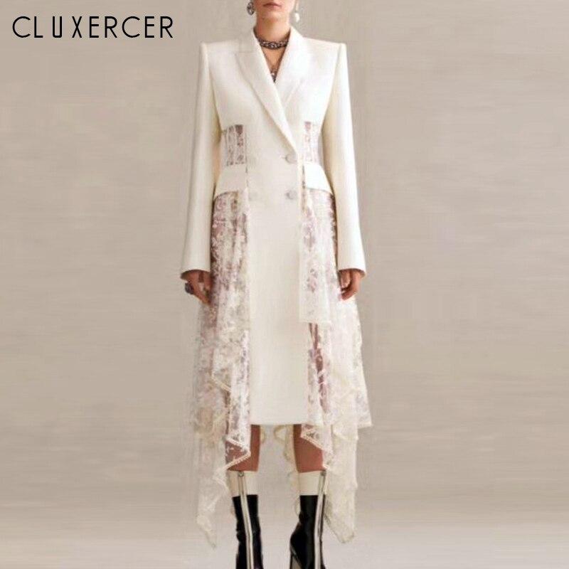 White Asymmetry Blazer Women Long Sleeve Double Breasted Blazer Sexy Lace Stitching Hollow Perspective Long Blazer Feminino