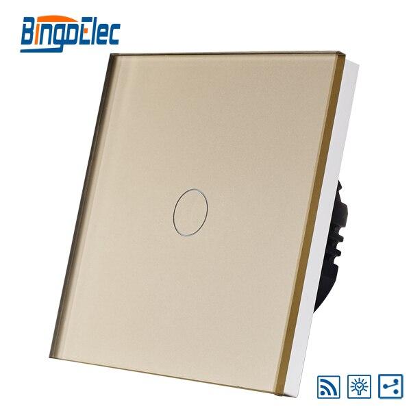 EU/UK standard golden glass 1gang 2way dimmer remote switch suck uk