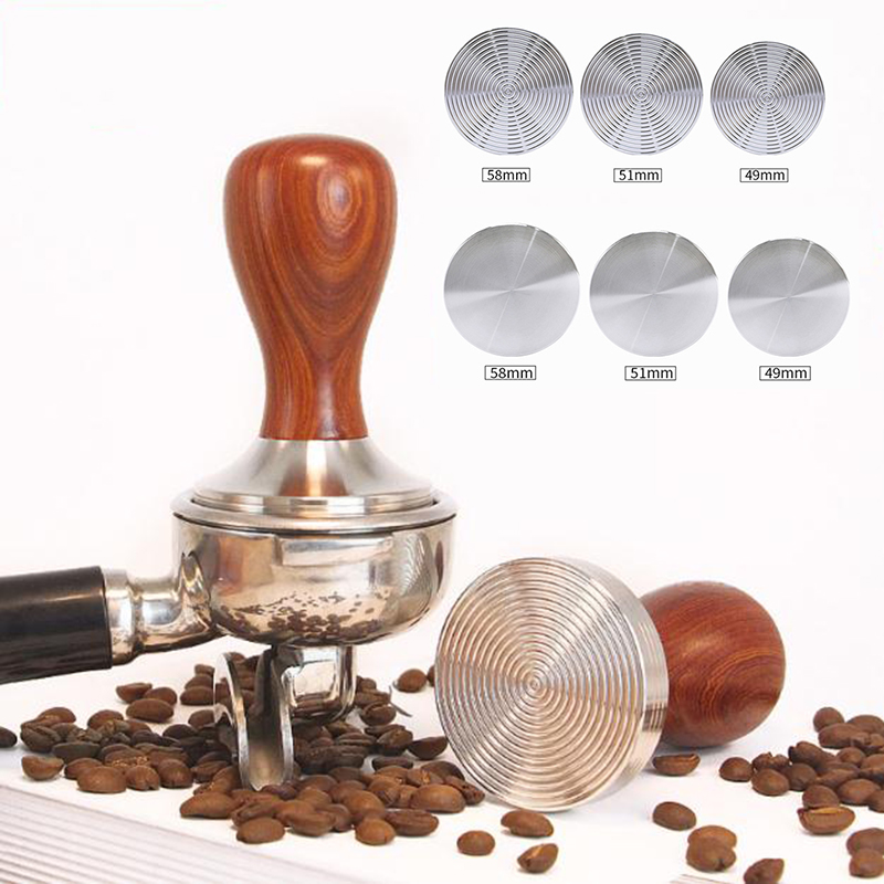 51mm Stainless Steel Tamper Espresso Coffee Tool Base Wooden Handle Kitchen