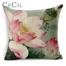 Cecil Decorative Pillow Cover Printing Lotus Linen Cotton Hand-painted Sofa lumbar Car Cushion
