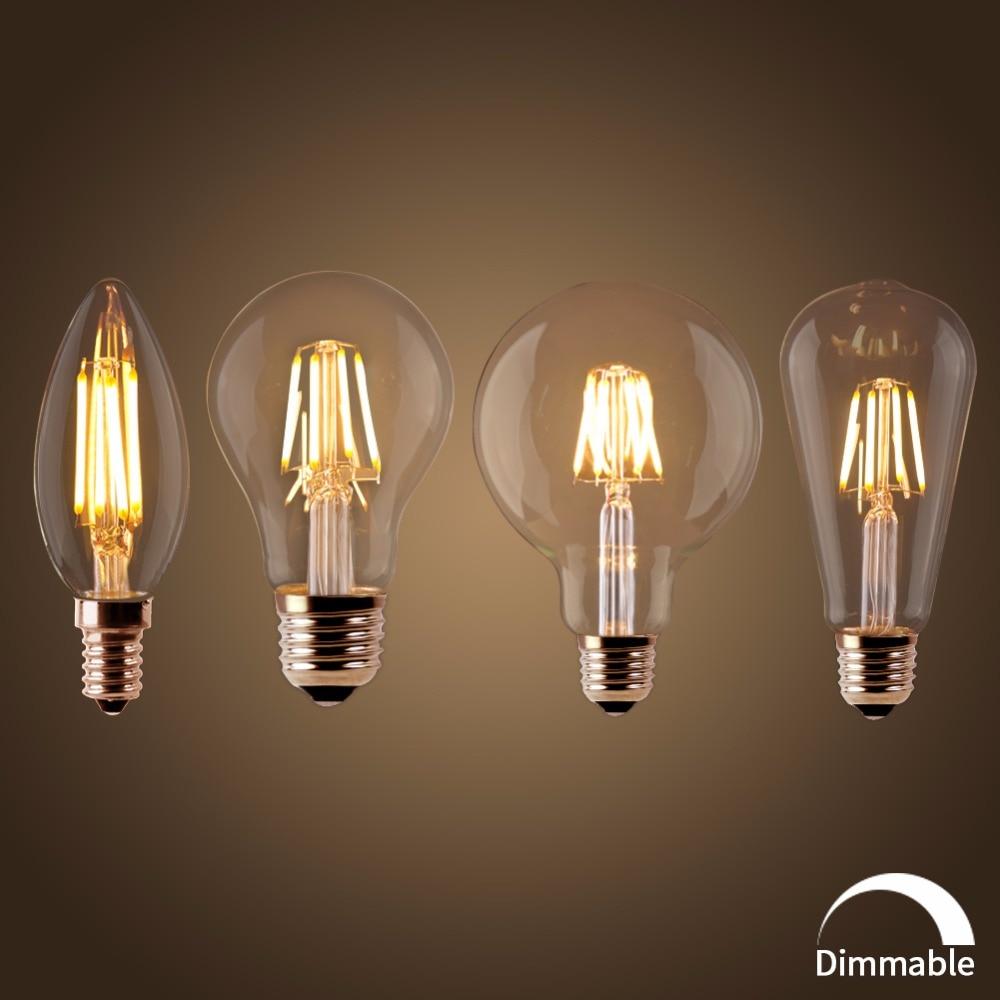 1//10X Retro E27 4//12//16W Edison Filament Bulb LED Light ST64 Drop Lamp 110V//220V