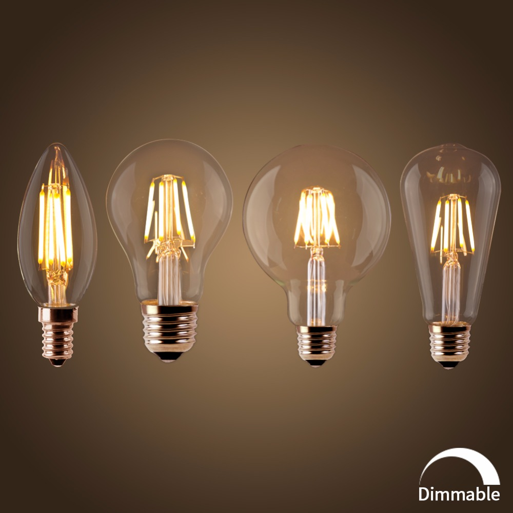 <font><b>LED</b></font> Filament <font><b>Bulb</b></font> E27 Retro Edison <font><b>Lamp</b></font> 220V <font><b>E14</b></font> Vintage C35 Candle Light Dimmable G95 Globe Ampoule Lighting COB Home Decor image
