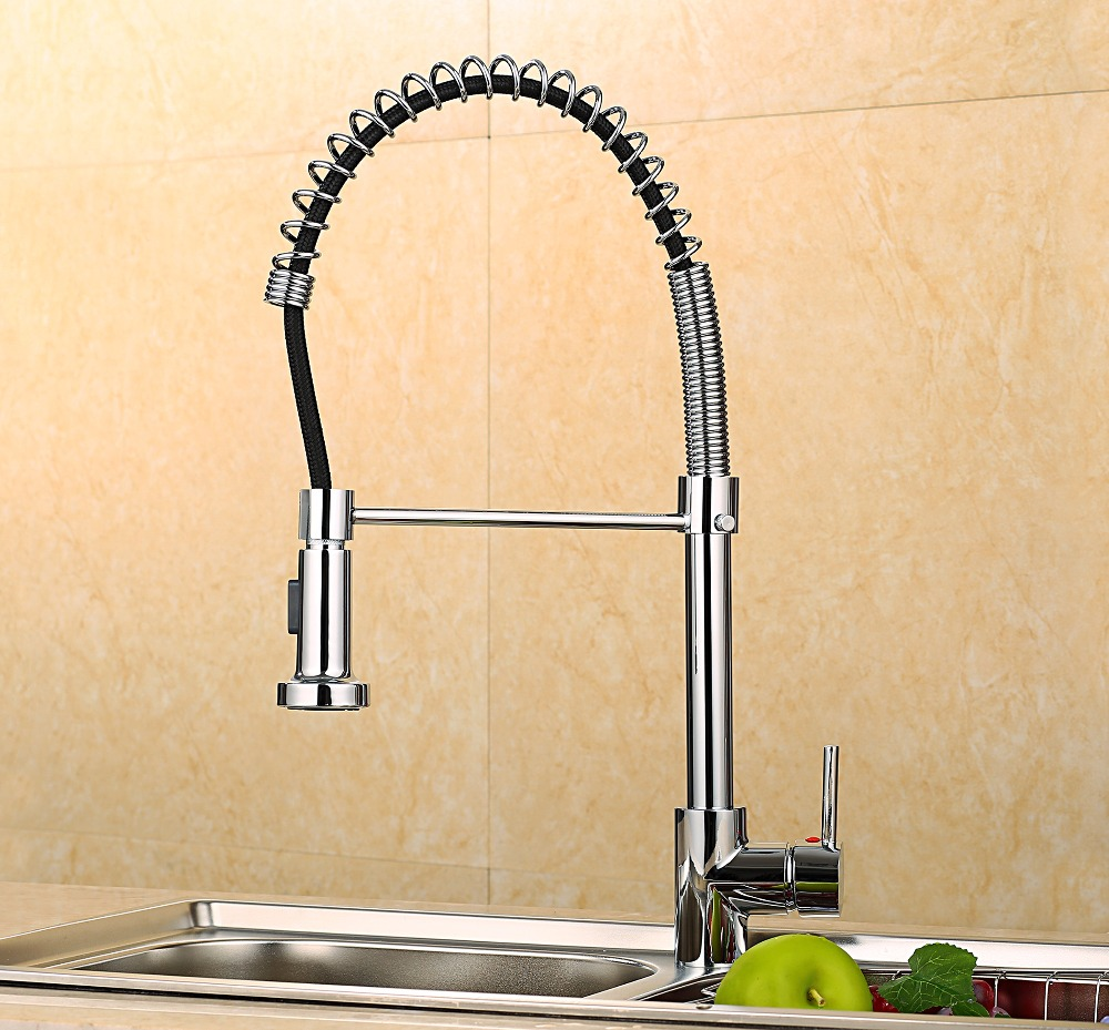 Hot sell Spring Pull Out Kitchen Sprayer Faucet/Top Brass Material Modern Chrome Design Hot And Cold Wash Basin Sink Mixer Tap modern kitchen sink faucet mixer chrome finish kitchen double sprayer pull out water tap torneira cozinha rotate hot cold tap