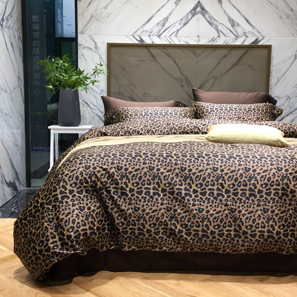 cotton modern geometric bedding promotionshop for promotional  - leopard designer bedding set queen king size fascinated duvet cover bedsheet bedding pillowcase s egyptian cotton bed linen