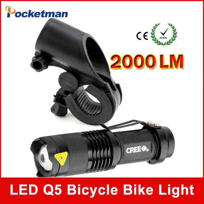 79e37406cf3 LED Bike Light 2000 Lumens CREE Q5 LED Bicycle Light Cycling Zoomable  Flashlight Mini Torch Bike Front Head Light With Mount
