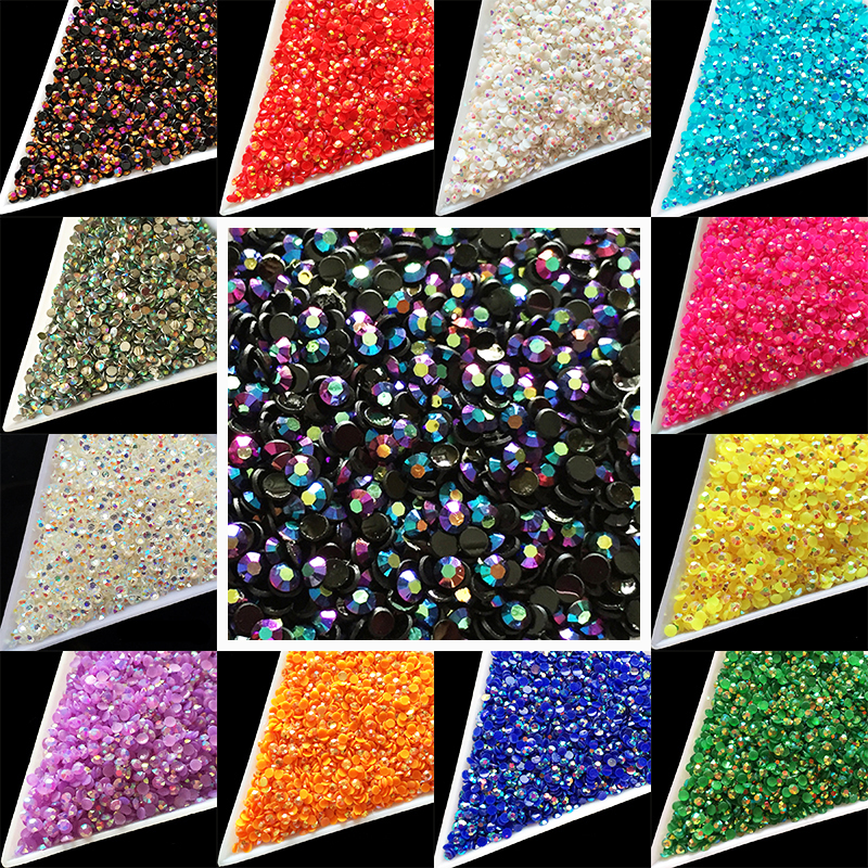 Wholesale 22 Colors Nail art Jelly resin Laser crytal SS6 AB 2mm Flatback Rhinestones crystal facet 1000pcs/bag nail jewelry