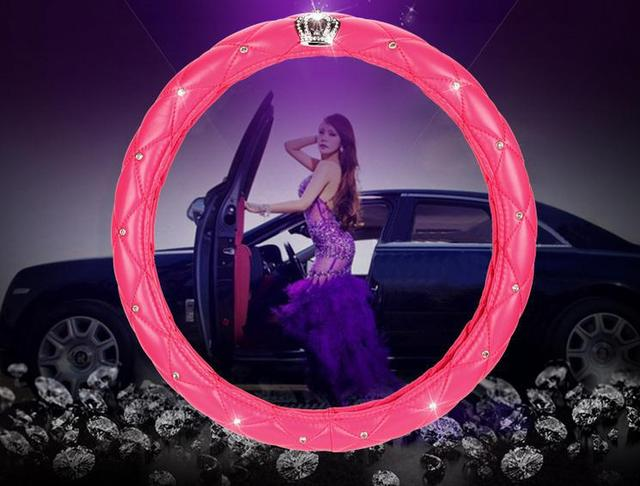 To Set Free Shipping With 2105 New South Korean Crown Car Steering Wheel Cover Fashion Diamond Car