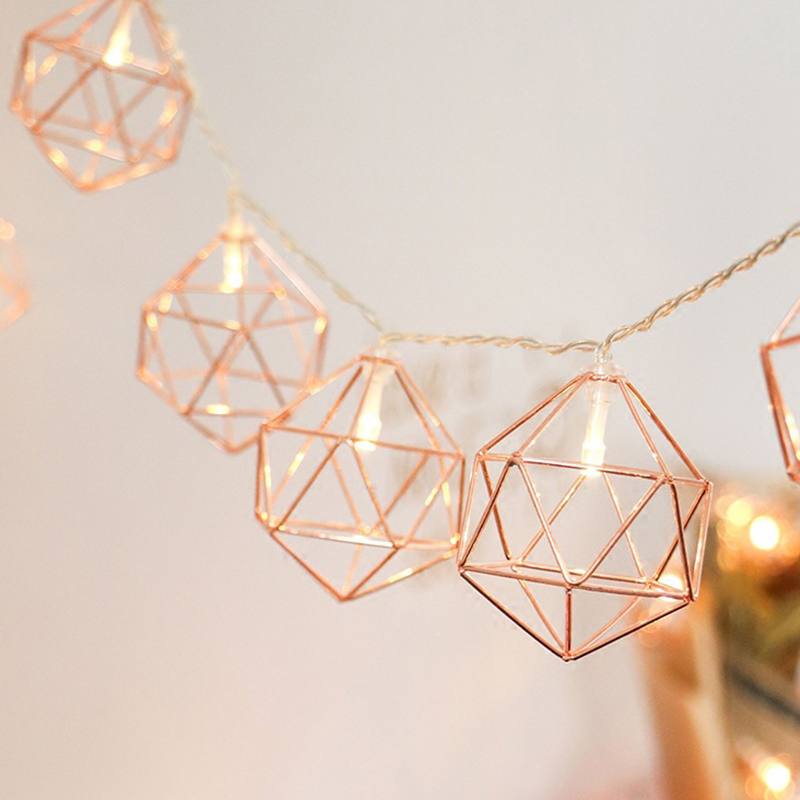 3M 20 LED Rose Gold Copper Wire LED String Light Iron Geometric Hexagons With 3*AA Battery Adapter For Wedding Home Decor