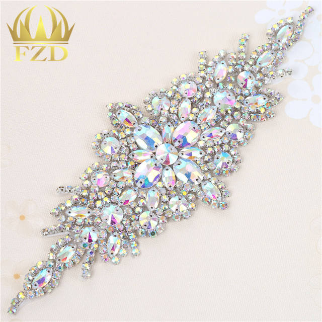 a96b671f76 US $7.99 |1 Piece Multiple Claw AB Rhinestone Crystal Appliques Patches Hot  Fix Glass Rhinestone Motif Iron On Bridal Sash Belt FA 949-in Rhinestones  ...