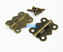 40 Pieces Antique Brass Jewelry Box Hinge Small Butterfly Hinge 20x17mm with Screws