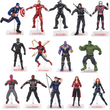 18cm Avengers Infinity War Thanos Spiderman Hulk Iron Man Captain America Thor Black Panther Action Figure Toys Dolls avengers infinity war iron man captain america spiderman hulk black panther thanos pvc figures toys 6pcs set