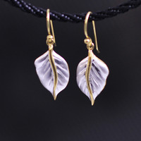 S925 pure silver Thailand pure manual type leaves ms earrings
