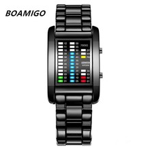 hot deal buy boamigo brand rectangle creative led watch sport men's watches digital steel band calendar electronic wrist watches men clock