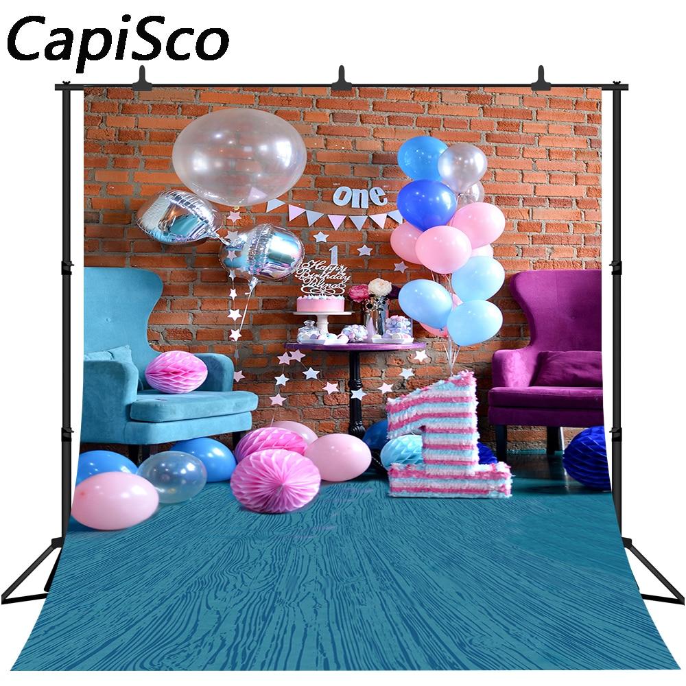 Wondrous Capisco Brick Wall Balloons 1St Birthday Cake Baby Photography Funny Birthday Cards Online Benoljebrpdamsfinfo