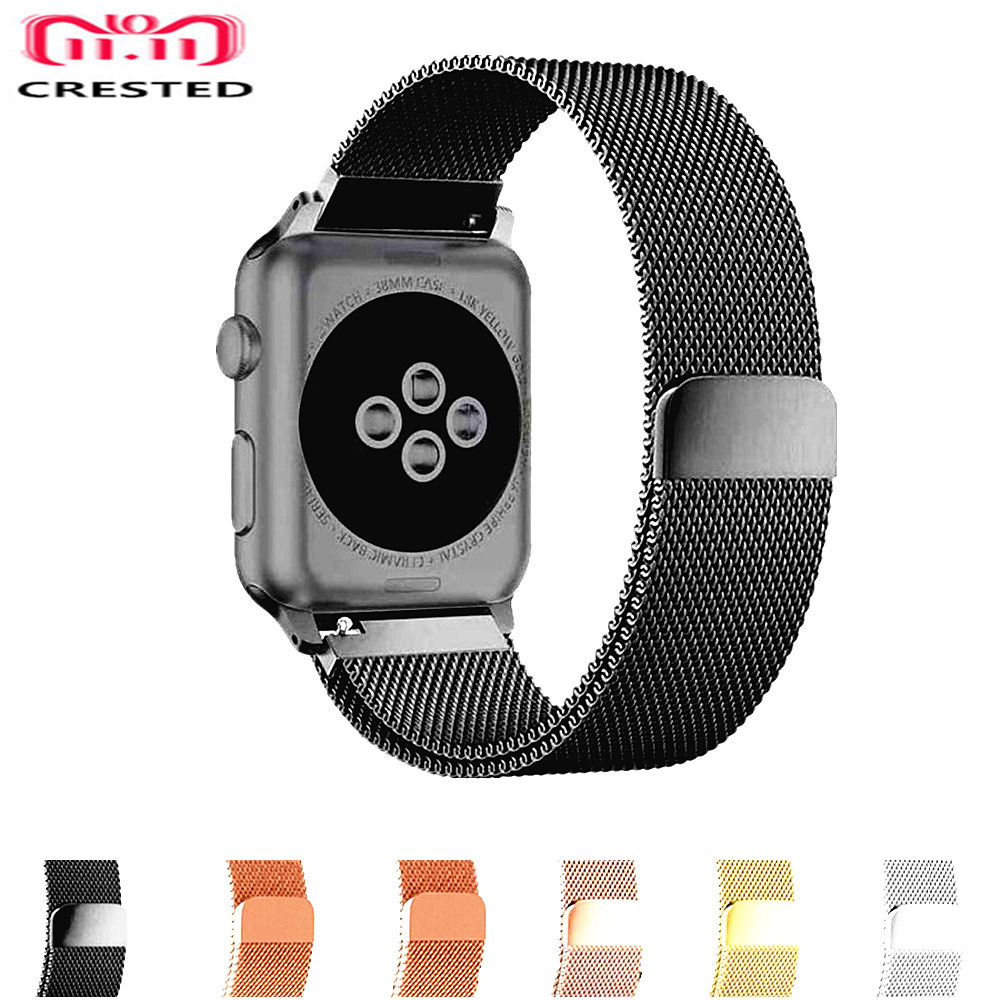 CRESTED Milanese Loop For Apple Watch Band 42mm/38mm correa iwatch Strap Series 3/2/1 Stainless Steel Wristband Bracelet Belt crested milanese loop strap for apple watch band 42mm 38mm stainless steel link bracelet wristband for iwatch 3 2 1 with case
