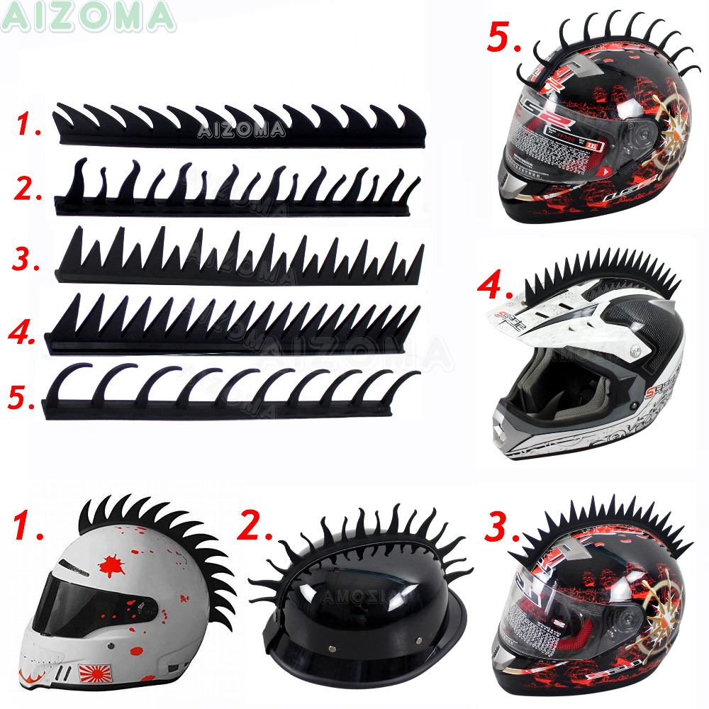 Black Motorcycle Helmet Rubber Sticker Mohawk Spike Cool Biker Warrior Saw Blade Flame Wave Style Decoration Stick Strip