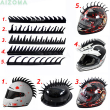 Black Motorcycle Helmet Rubber Sticker Mohawk Spike Cool Biker Warrior Saw Blade