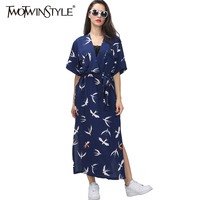 TWOTWINSTYLE Original Vintage Japanese Kimono Swallow Print Loose V Collar Long Slit Dress With Belt