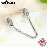 Real 925 Sterling Silver Pave Inspiration Safety Chain Charm With Clear CZ Fit Original Pandora Bracelet