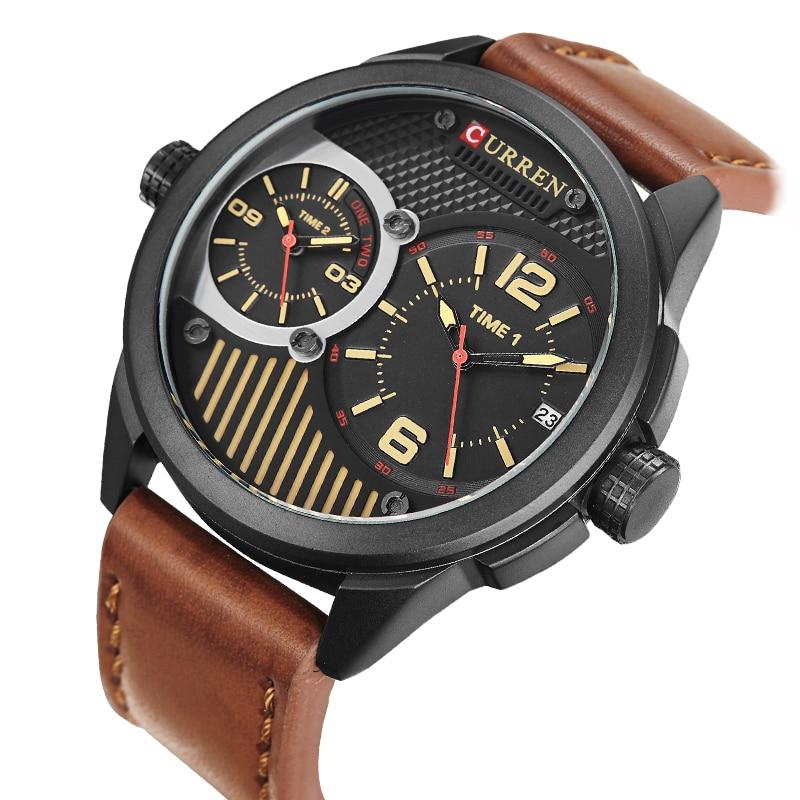 2018 Men Watch CURREN Mens Watches Top Brand Luxury Leather Strap Quartz Watch Men Casual Military Sport Waterproof Clock Watch