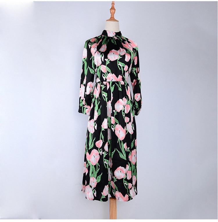 Printemps Stand Noir 2018 À Élégant Manches Robe Mince Longues Chic Mode Dres Col Pistes Floral Imprimer ukOXTwPZi