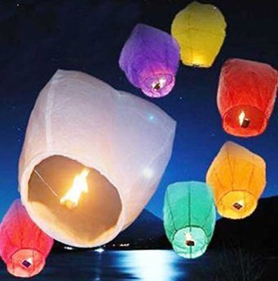 5pcs  Halloween paper sky Lanterns 6-8 Colours Chinese fireproof Holiday Wishes Birthday Wedding Christmas Party