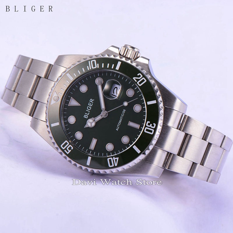 BLIGER 43mm black Ceramic Bezel dial silver case Luminous sapphire automatic Date Day mens watch