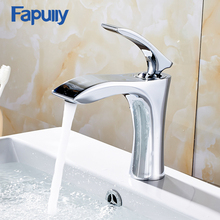 Fapully Bathroom Chrome Faucet Single Handle Cold Hot Basin Mixer Tap Hole Water