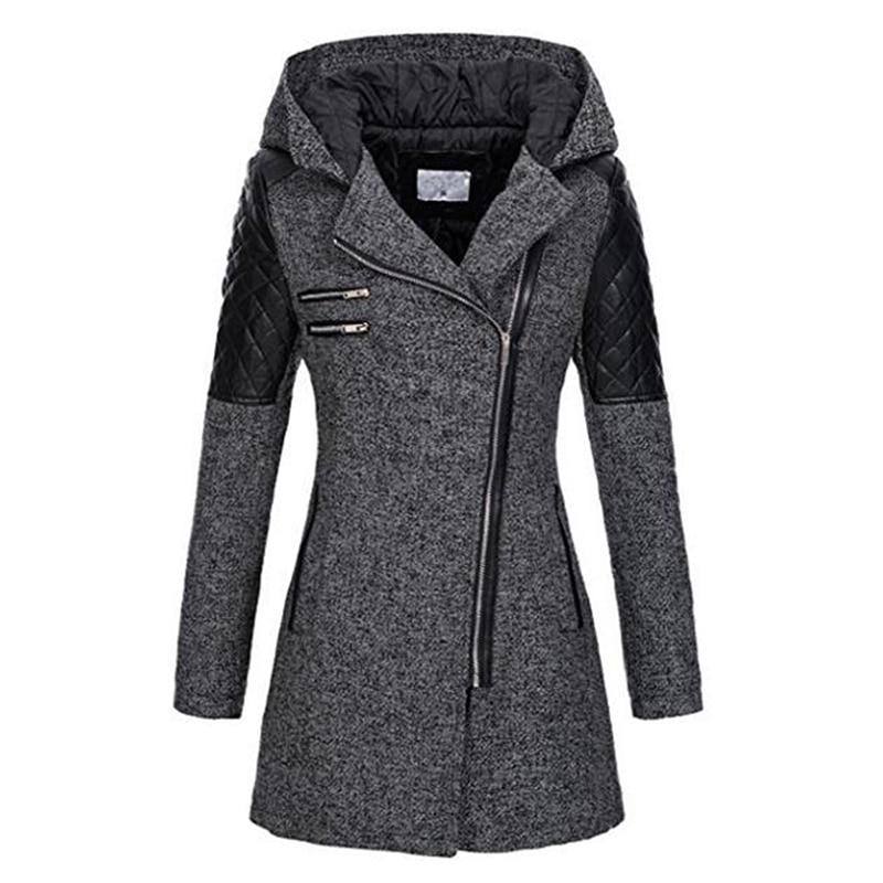 Abrigo con capucha gótico de invierno con cremallera ceñido prendas de vestir exteriores moda retazos negro mujer abrigado a prueba de viento otoño abrigos otoño