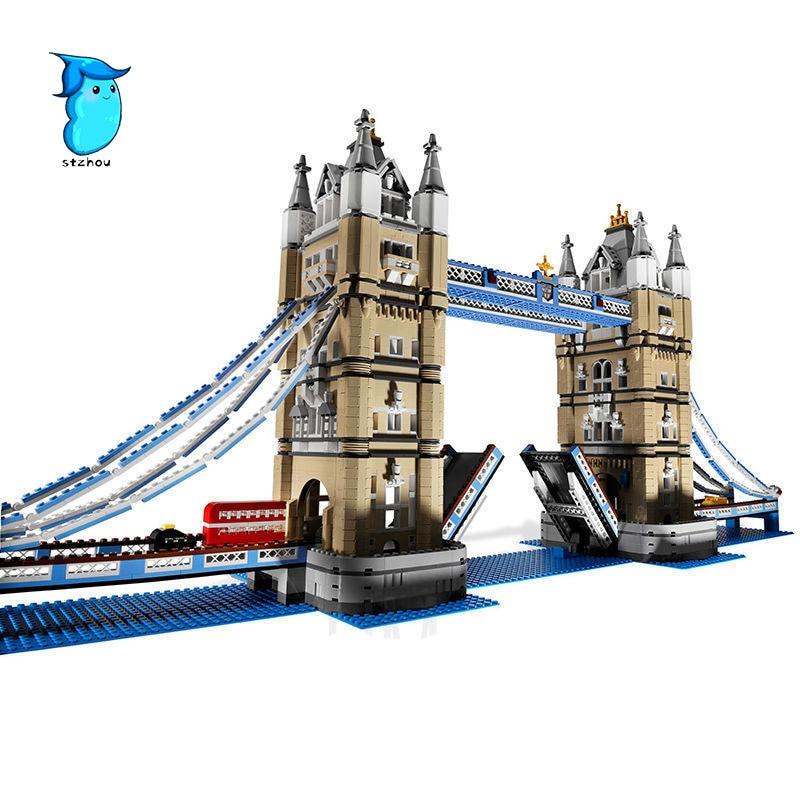 StZhou 17004 4295pcs London bridge Model Building Kits Brick lepin DIY Toys Compatible Gifts in stock new lepin 17004 city street series london bridge model building kits assembling brick toys compatible 10214