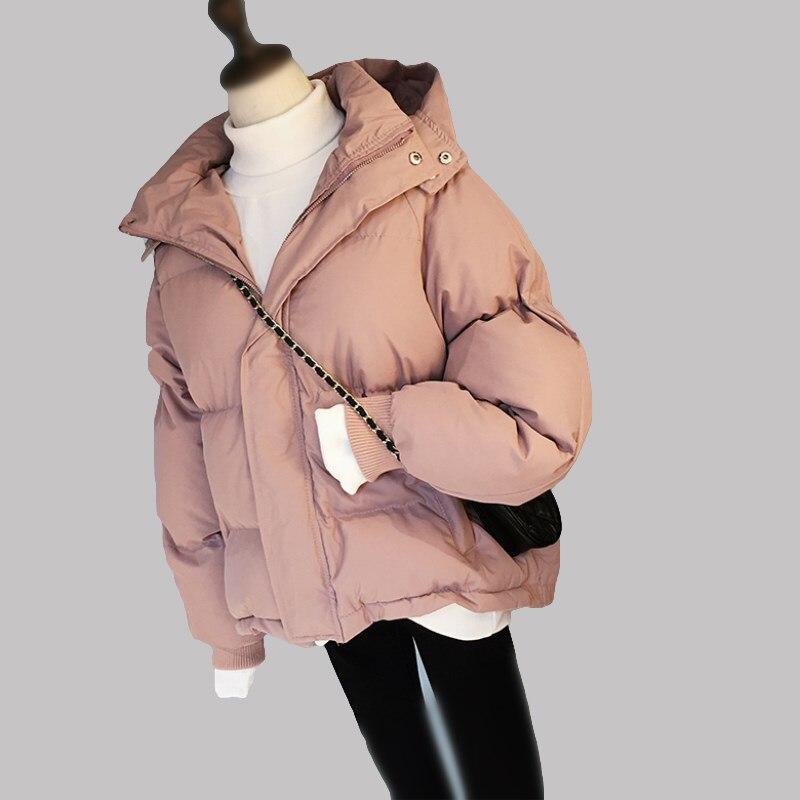 2018 hiver veste manteau femmes chaud vers le bas coton rembourré court Parkas pain Style nouveau automne mode Bomber solide à capuche manteaux thique