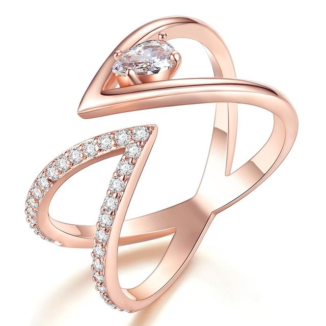 Rose Gold V Letter Open Size Fashion Ring 2